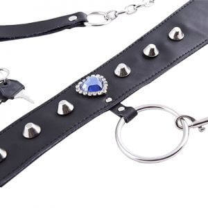 Blue Jewelled Collar lead great for your Sub in fetish, BDSM, bondage