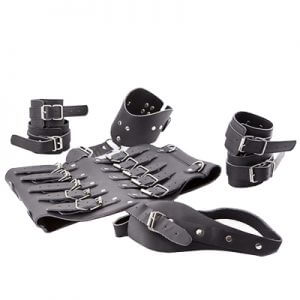 Leather Corset Restraint Set has Corset Cuffs Collar and crutch strap