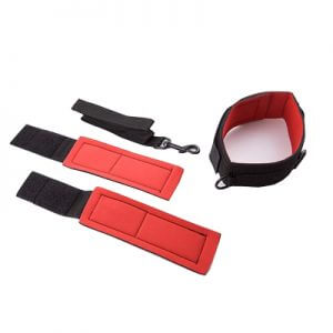 Soft Bondage Wrist Collar Restraints with a leash in black and red nylon