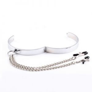 Flat Bar Collar Nipple Clamps great for your Sub in fetish or bondage