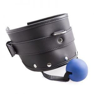 Leather Posture Collar Ball Gag for your Sub in fetish, BDSM, bondage