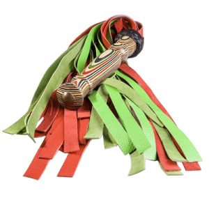 Red Green Leather Floggers used in fetish play and spanking warm up