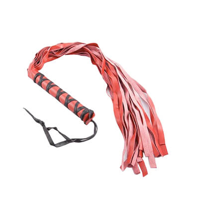 Light Leather Flogger is used in fetish play and spanking warm up floggers in red