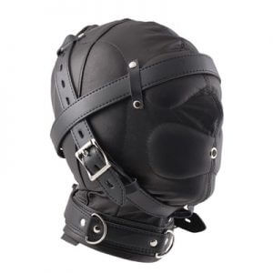 Luxury Leather Hoods Total Sensory Deprivation Hood Extreme Restraints in black