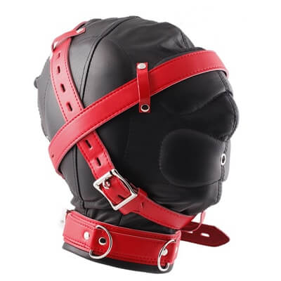 Luxury Leather Hoods Total Sensory Deprivation Hood Extreme Restraints in red