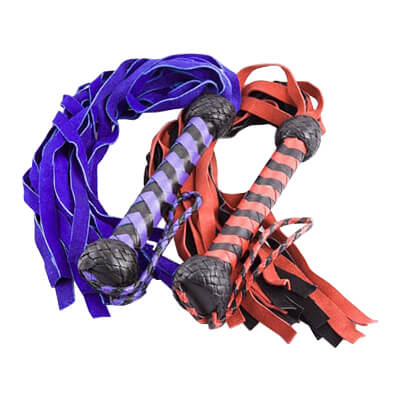 Striped Handled Suede Flogger for fetish play or spanking warm up floggers