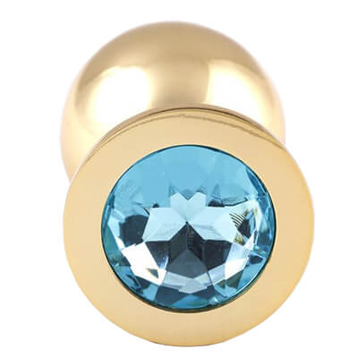 Gold Butt Plugs are very pretty so why not try one of our jewelled butt plugs with a water blue gem