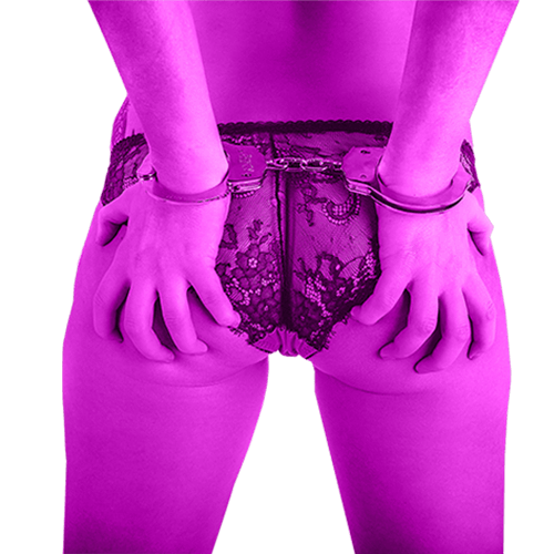banner female bum spanking handcuffs purple