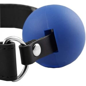 Blue Leather coloured ball gags are a great way to keep them quiet
