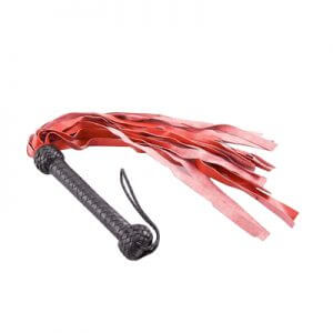 Red Medium Weight Leather Flogger for you spanking and fetish lovers floggers